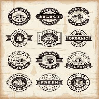 Conjunto de selos de agricultura biológica vintage