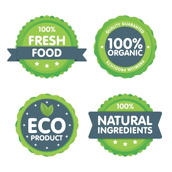 Conjunto de selos de alimentos frescos orgânicos 100%.