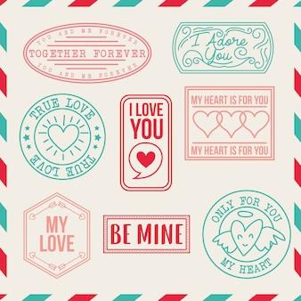 Conjunto de selos de amor vintage