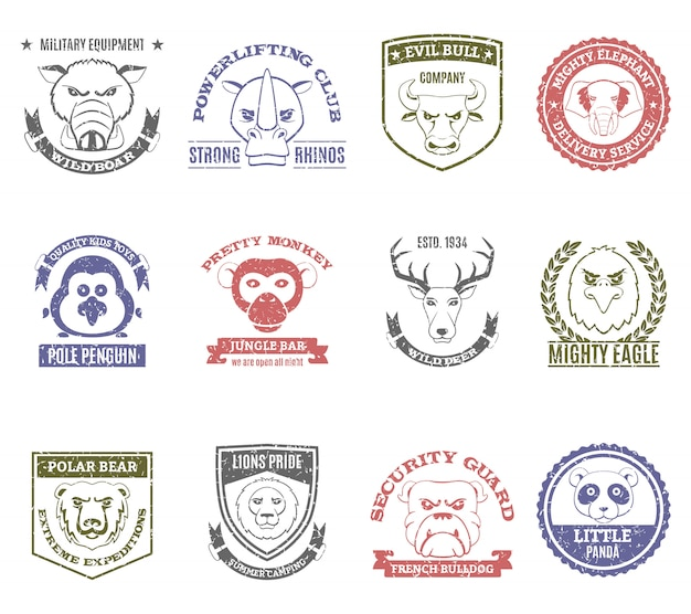 Conjunto de selos de animais silvestres