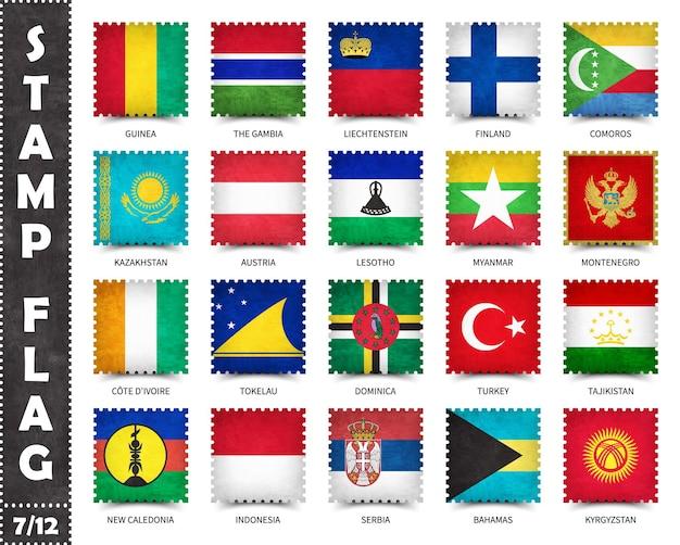 Conjunto de selos de bandeiras oficiais de países do mundo