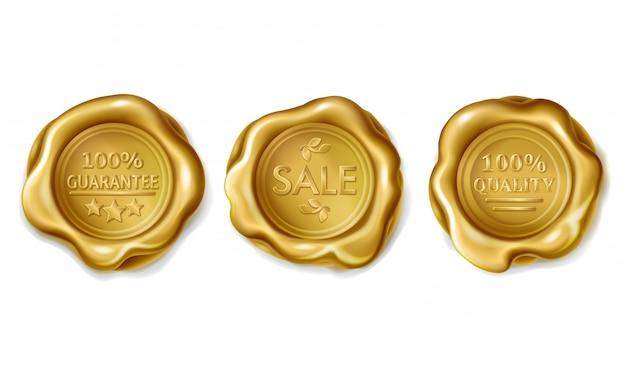Conjunto de selos de cera dourada