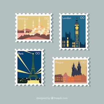 Conjunto de selos de cidade em estilo plano