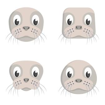 Conjunto de selos de desenho animado. diferentes formas de cabeças de animais.