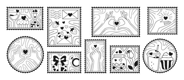 Conjunto de selos de dia dos namorados. mão desenhada amor doodles.