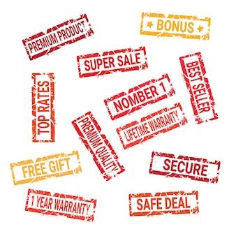 Conjunto de selos de grunge garantia de negócio seguro e coleção de selo isolado de venda conceito de compras