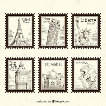 Conjunto de selos de marco com diferentes cidades na mão desenhada estilo