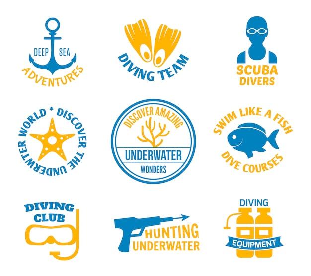 Conjunto de selos de mergulho