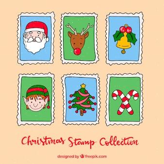 Conjunto de selos de natal desenhados à mão