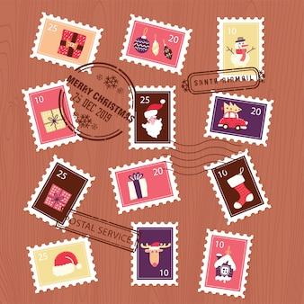 Conjunto de selos de natal para envelope