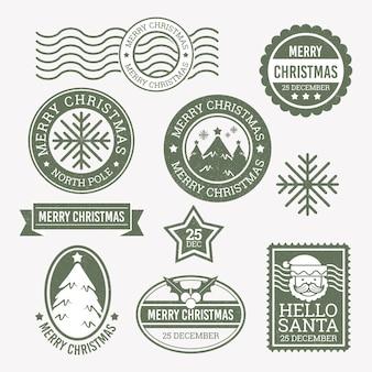 Conjunto de selos de natal retrô