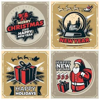 Conjunto de selos de natal vintage
