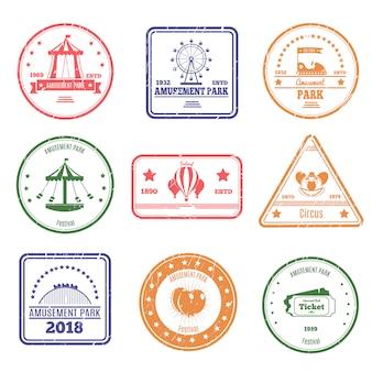 Conjunto de selos de parque de diversões
