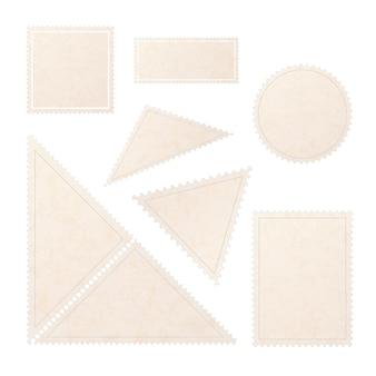 Conjunto de selos de post em branco antigo realista com textura de papel em branco