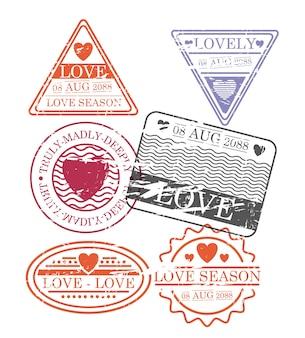 Conjunto de selos de temporada de amor em silhueta colorida