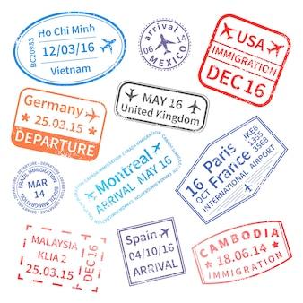 Conjunto de selos de viagem internacional