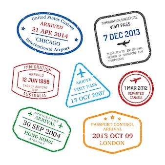 Conjunto de selos de viagens internacionais de negócios