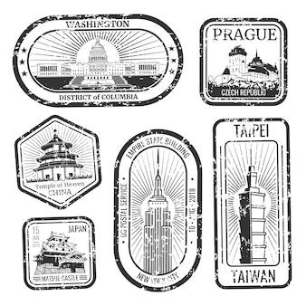 Conjunto de selos de viagens vintage preto e branco com grandes monumentos e pontos turísticos conjunto de vetores