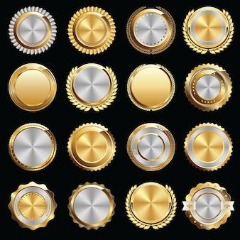 Conjunto de selos e emblemas de certificado de ouro e prata