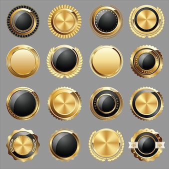 Conjunto de selos e emblemas de certificado de ouro