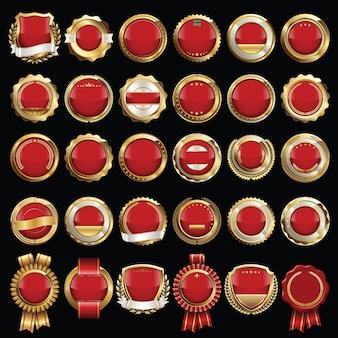 Conjunto de selos e emblemas de certificado vermelho e dourado