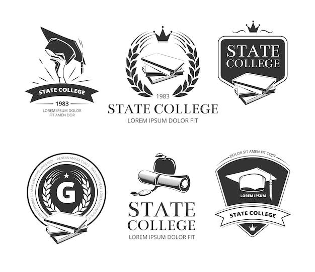 Conjunto de selos e etiquetas de universidade, academia, faculdade e escola