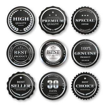 Conjunto de selos, emblemas de prata e etiquetas de qualidade premium