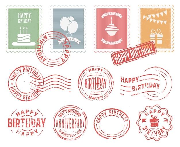 Conjunto de selos postais coloridos de aniversário