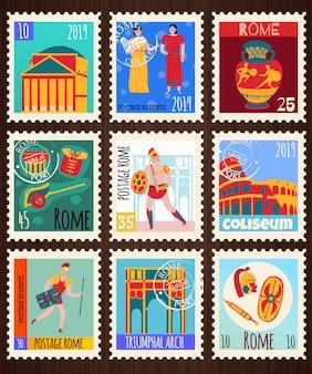 Conjunto de selos postais do antigo império de roma