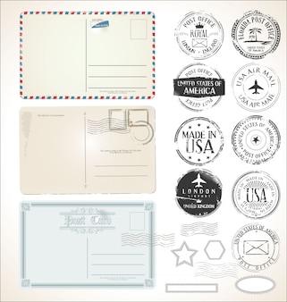 Conjunto de selos postais e postais