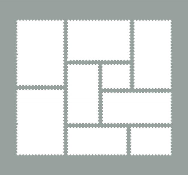 Conjunto de selos postais. selos em branco.