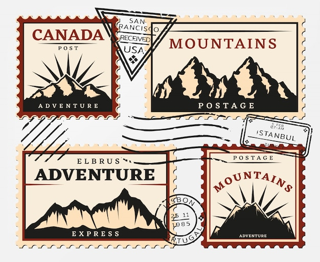 Conjunto de selos postais vintage