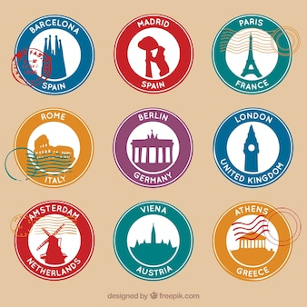 Conjunto de selos redondos com nove cidades diferentes