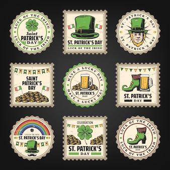 Conjunto de selos vintage do dia de saint patricks