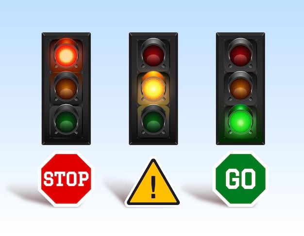 Conjunto de semáforo com placa de instruções