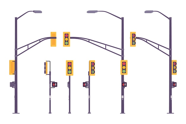Conjunto de semáforo isolado no branco