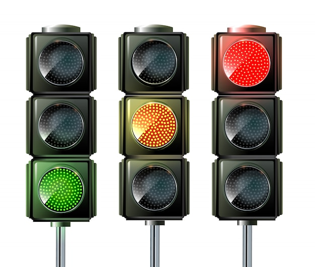 Conjunto de semáforos isolado no branco