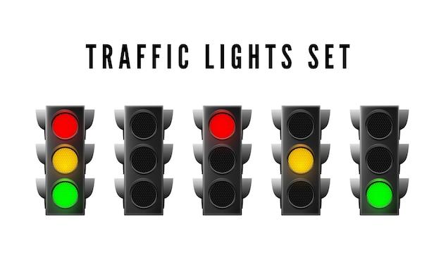 Conjunto de semáforos realistas. sinal de trânsito vermelho amarelo e verde. ilustração vetorial isolada