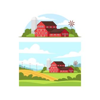 Conjunto de semi ilustração da vida durante o dia na fazenda