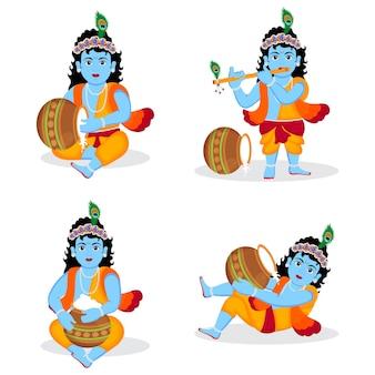 Conjunto de senhor krishna diferentes posses personagem ilustração, feliz krishna janmashtami