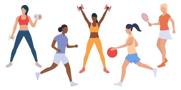 Conjunto de senhoras ativas no treinamento esportivo