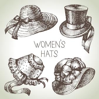 Conjunto de senhoras vintage elegantes de mão desenhada. esboce chapéus de mulheres. ilustração de moda retrô
