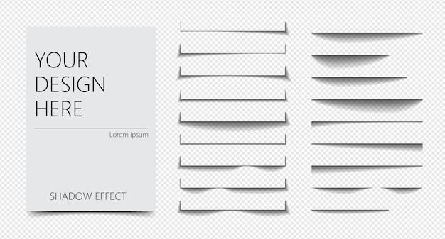 Conjunto de separação de página de diferentes formas de efeito de sombra realista