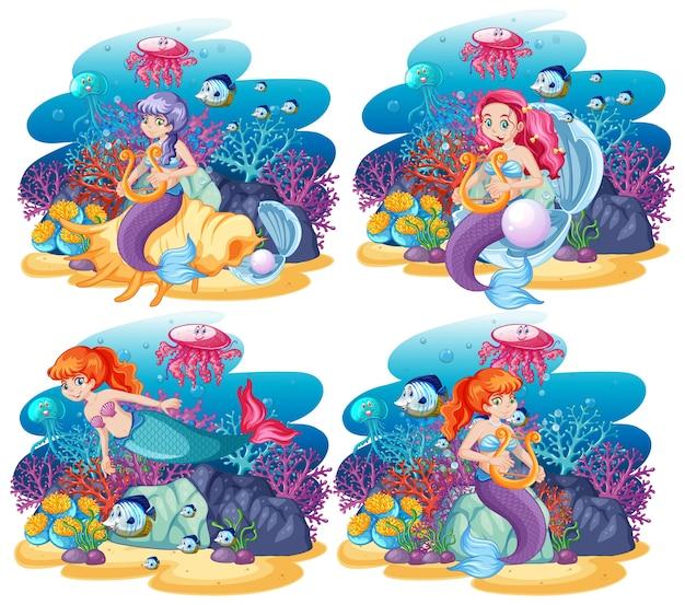 Conjunto de sereia fofa com estilo de desenho animado de cena do tema do mar animal