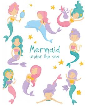 Conjunto de sereias lindas. meninas com caudas de cabelo e peixe coloridas. vida marinha fantástica. criaturas marinhas míticas.