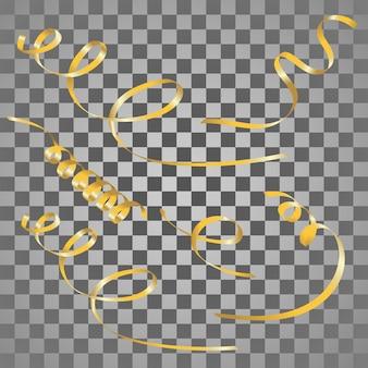 Conjunto de serpentinas de ouro.