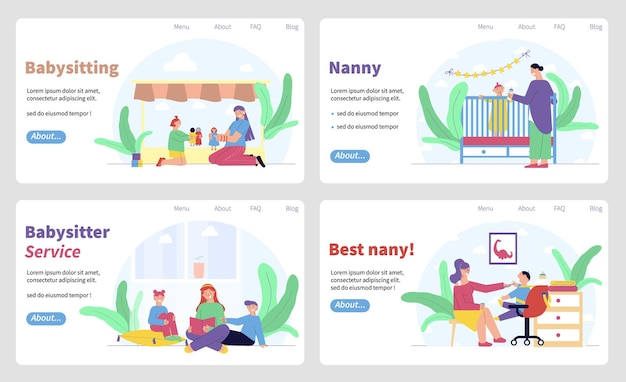 Conjunto de serviço de babá de banners horizontais com caracteres planos de babás com crianças