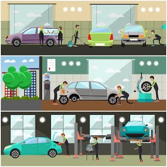 Conjunto de serviço de carro, ilustração de conceito de reparação automóvel