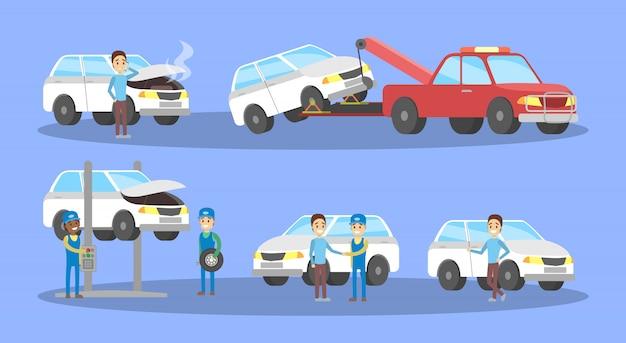 Conjunto de serviço de carro. os mecânicos reparam o automóvel branco quebrado e trocam o pneu na garagem. diagnóstico e fixação do motor. ilustração