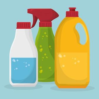 Conjunto de serviço de lavanderia garrafas produtos